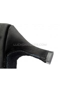 Women's Black Satin Heels Sandals Latin Salsa With Ankle Strap Dance Shoes D602024