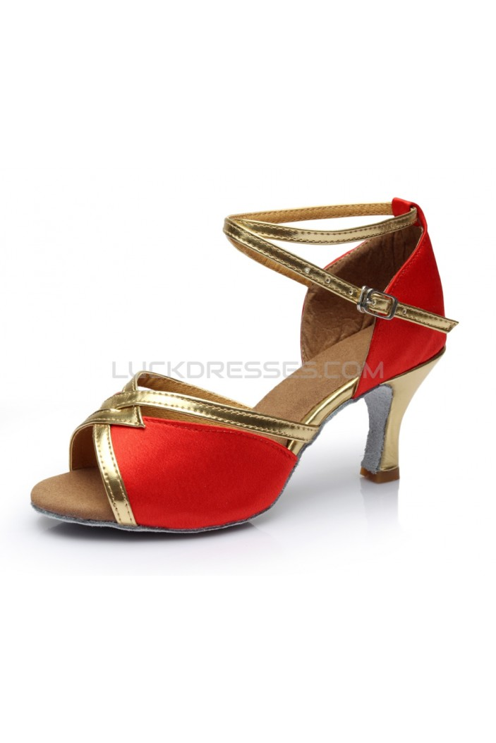 Women's Red Satin Heels Sandals Latin Salsa With Ankle Strap Dance Shoes D602025