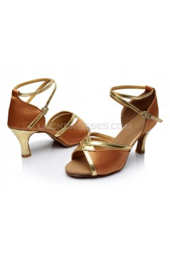 Women's Brown Satin Heels Sandals Latin Salsa With Ankle Strap Dance Shoes D602026