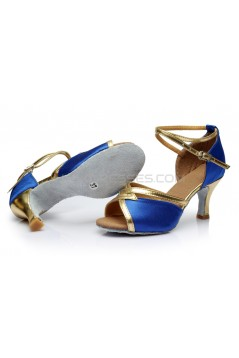Women's Blue Satin Heels Sandals Latin Salsa With Ankle Strap Dance Shoes D602027