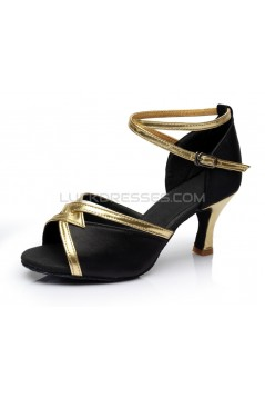 Women's Black Satin Heels Sandals Latin Salsa With Ankle Strap Dance Shoes D602028