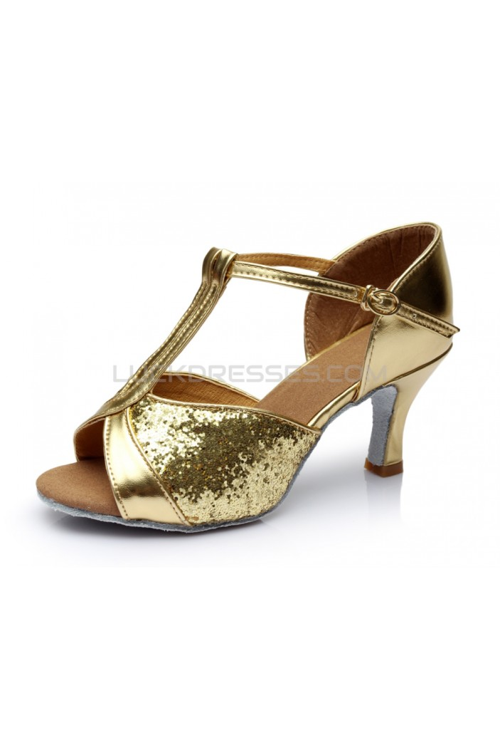 Women's Gold Sparkling Glitter Heels Sandals Latin Salsa T-Strap Dance Shoes Wedding Party Shoes D602029