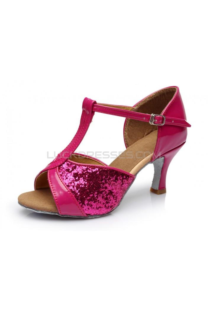 Women's Fuschia Sparkling Glitter Heels Sandals Latin Salsa T-Strap Dance Shoes D602030