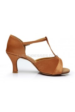 Women's Brown Satin Heels Sandals Latin Salsa Ballroom T-Strap Dance Shoes D602031