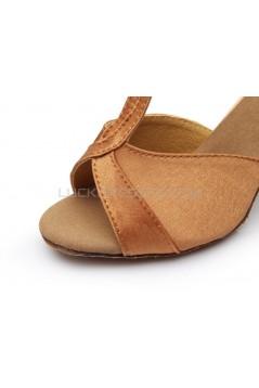 Women's Brown Satin Heels Sandals Latin Salsa Ballroom T-Strap Dance Shoes D602031
