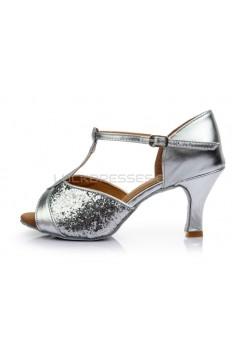 Women's Silver Sparkling Glitter Heels Sandals Latin Salsa Ballroom T-Strap Dance Shoes Wedding Party Shoes D602032