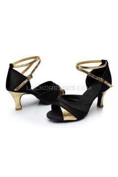 Women's Black Gold Satin Heels Sandals Latin Salsa With Ankle Strap Dance Shoes D602033