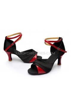 Women's Black Red Satin Heels Sandals Latin Salsa With Ankle Strap Dance Shoes D602034