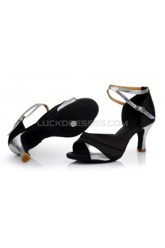 Women's Black Silver Satin Heels Sandals Latin Salsa With Ankle Strap Dance Shoes D602035