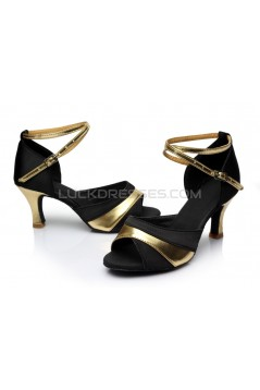 Women's Black Gold Satin Heels Sandals Latin Salsa With Ankle Strap Dance Shoes D602036