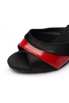 Women's Black Red Satin Heels Sandals Latin Salsa With Ankle Strap Dance Shoes D602037