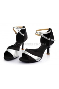 Women's Black Silver Satin Heels Sandals Latin Salsa With Ankle Strap Dance Shoes D602038