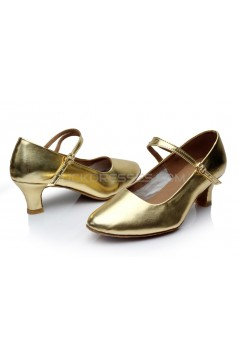 Women's Gold Leatherette Heels Latin Salsa With Ankle Strap Dance Shoes Wedding Party Shoes D602039
