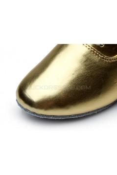 Men's Kids' Gold Leatherette Modern Ballroom Latin Dance Shoes Dance Sneakers Flat Heel D603002