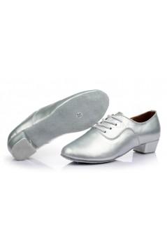 Men's Kids' Silver Leatherette Modern Ballroom Latin Dance Shoes Dance Sneakers Flat Heel D603004