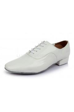 Men's Kids' White Leatherette Modern Ballroom Latin Dance Shoes Dance Sneakers Flat Heel D603006