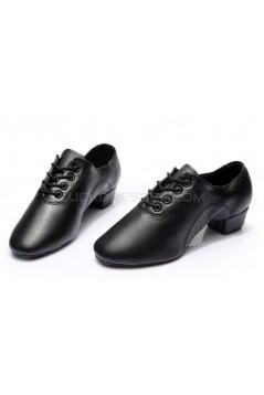 Men's Kids' Black Soft Leather Modern Ballroom Latin Dance Shoes Dance Sneakers Flat Heel D603007