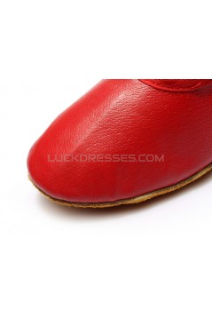Women's Red Soft Leatherette Dance Shoes Ballet/Latin/Yoga/Dance Sneakers Flat Heel D604003