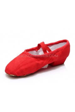 Women's Red Canvas Dance Shoes Ballet/Latin/Yoga/Dance Sneakers Canvas Flat Heel D604004