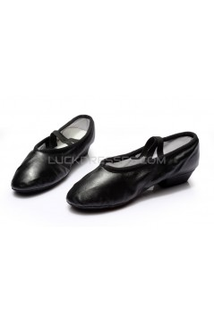 Women's Black Soft Leatherette Dance Shoes Ballet/Latin/Yoga/Dance Sneakers Flat Heel D604005