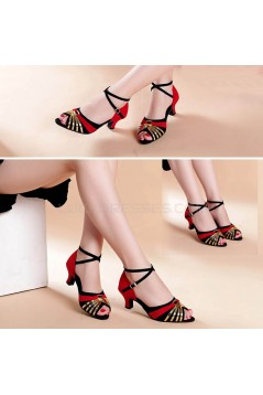 Women's Red Black Gold Women's Piscine Mouth Shoes Open Toe Modern Ballroom/Latin Dance Shoes D801001