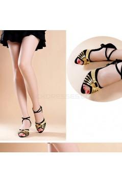 Women's Black Gold Women's Piscine Mouth Shoes Open Toe Modern Ballroom/Latin Dance Shoes D801002