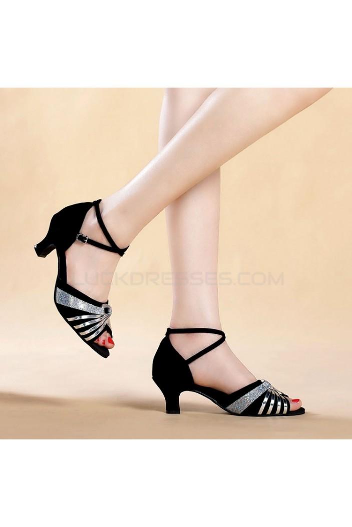 Women's Black Silver Women's Piscine Mouth Shoes Open Toe Modern Ballroom/Latin Dance Shoes D801003