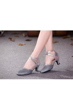 Women's Silver Sparkling Glitter Upper Latin/Ballroom Dance Performance Shoes Wedding Party Shoes D801006