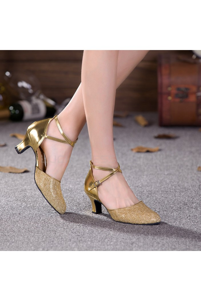 Women's Gold Sparkling Glitter Upper Latin/Ballroom Dance Performance Shoes Wedding Party Shoes D801007