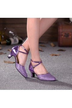 Women's Purple Sparkling Glitter Upper Latin/Ballroom Dance Performance Shoes D801008