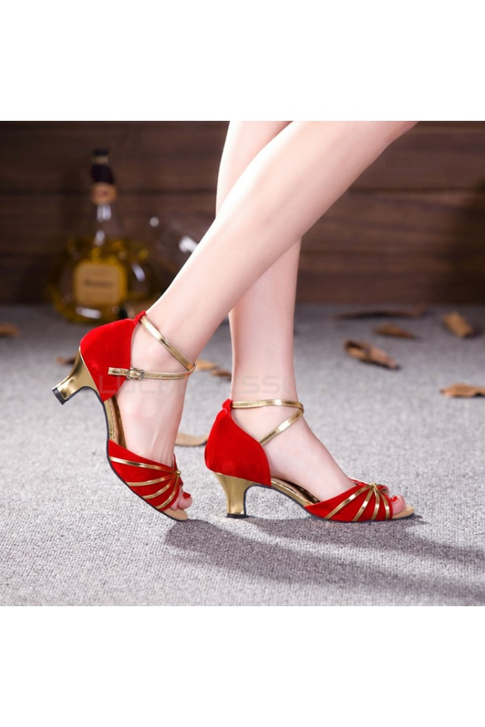 Women's Red Gold Heels Pumps Fashion Latin/Salsa/Ballroom Dance Shoes D801011