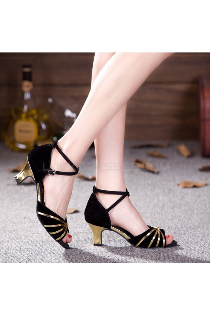 Women's Black Gold Heels Pumps Fashion Latin/Salsa/Ballroom Dance Shoes D801015