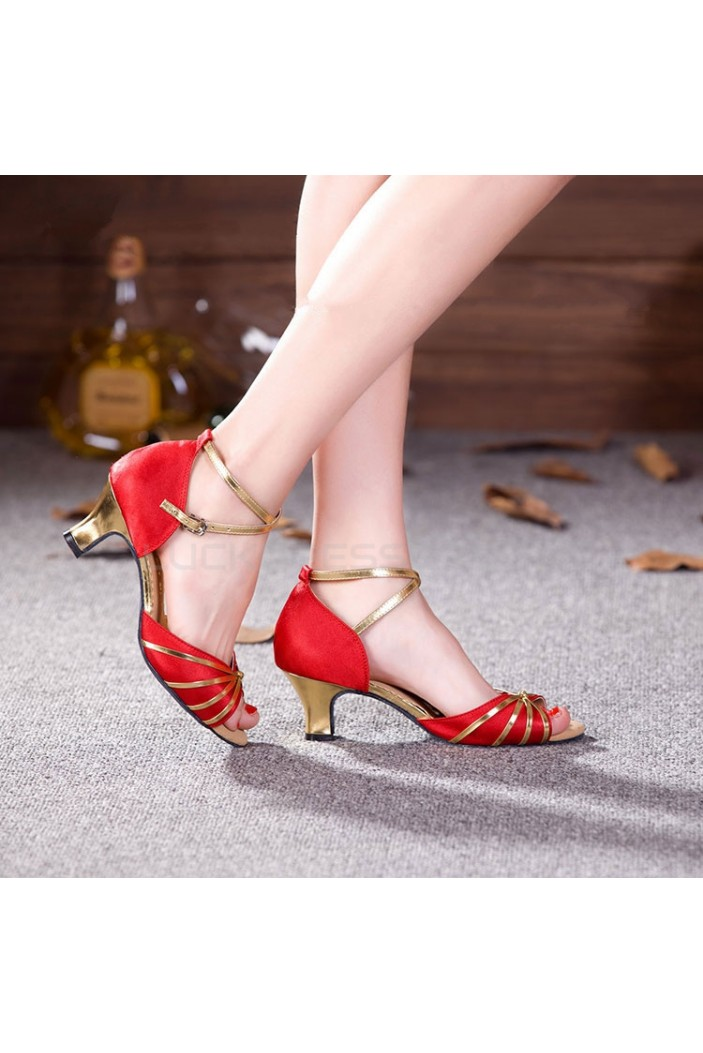 Women's Red Gold Heels Pumps Fashion Latin/Salsa/Ballroom Dance Shoes D801016