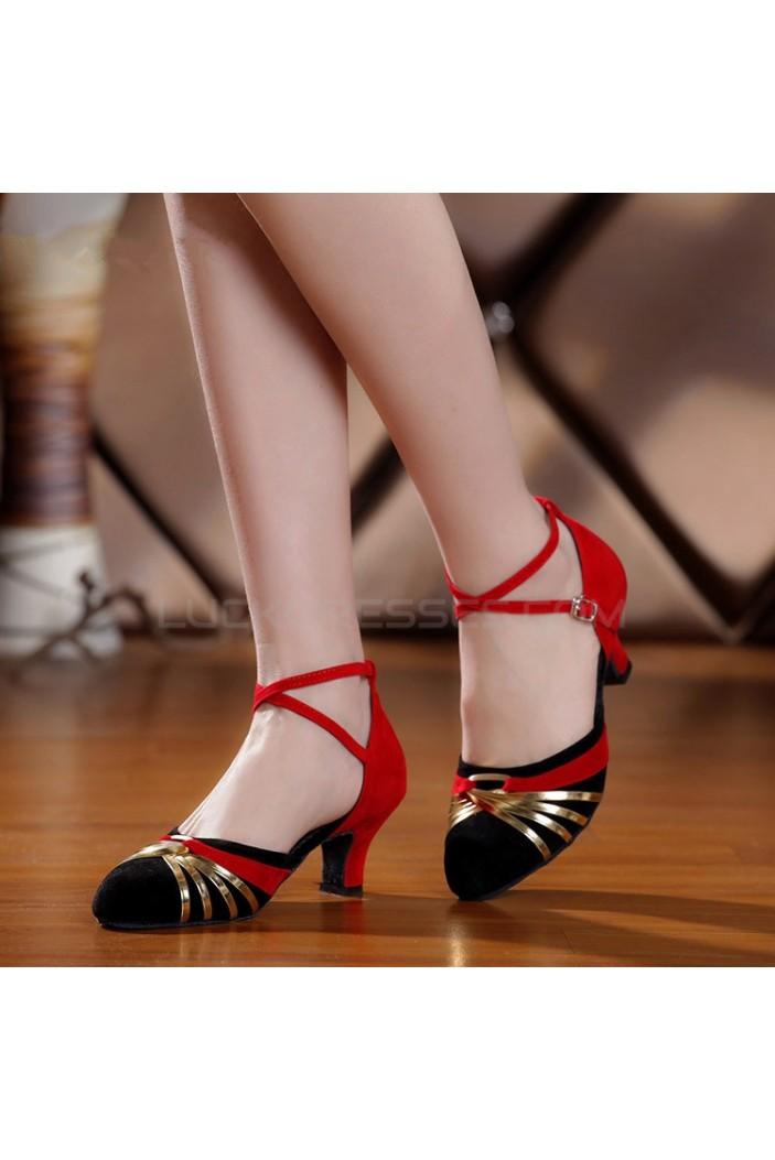 Women's Heels Pumps Modern With Buckle Latin/Ballroom/Salsa Dance Shoes Red/Gold/Black D801017