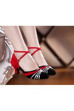 Women's Heels Pumps Modern With Buckle Latin/Ballroom/Salsa Dance Shoes Red Black Silver D801018