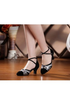 Women's Heels Pumps Modern With Buckle Latin/Ballroom/Salsa Black Silver Dance Shoes D801021