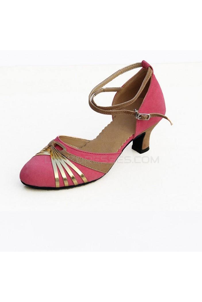 Women's Heels Pumps Modern With Buckle Latin/Ballroom/Salsa Pink Gold Dance Shoes D801025