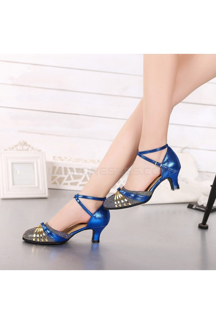 Women's Blue Leatherette Sparkling Glitter Heels Latin With Buckle Dance Shoes D801026