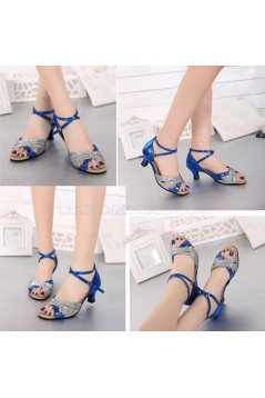 Women's Silver Blue Leatherette Sparkling Glitter Heels Sandals Latin With Buckle Dance Shoes D801028