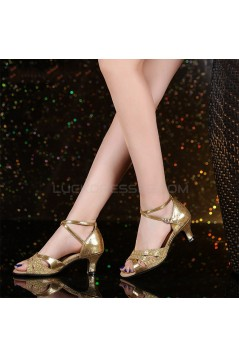 Women's Gold Leatherette Sparkling Glitter Heels Sandals Latin With Buckle Dance Shoes D801029