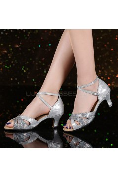 Women's Silver Leatherette Sparkling Glitter Heels Sandals Latin With Buckle Dance Shoes Wedding Party Shoes D801031