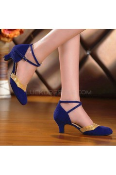 Women's Leatherette Heels With Ankle Strap Latin Ballroom Dance Shoes Blue Gold D801032