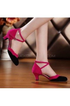 Women's Leatherette Heels With Ankle Strap Latin Ballroom Dance Shoes Rose Red Black D801034