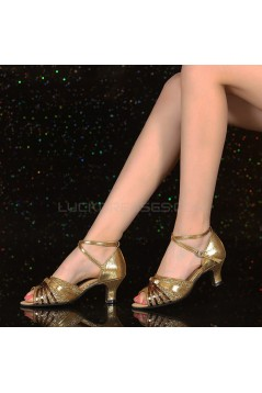 Women's Leatherette Gold Sparkling Glitter Heels Piscine Mouth Sandals With Ankle Strap Latin Ballroom Dance Shoes D801035