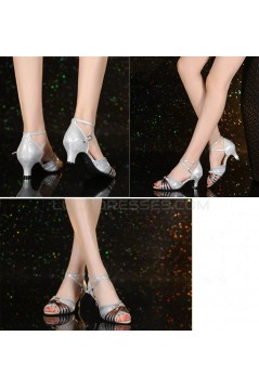 Women's Leatherette Silver Sparkling Glitter Heels Piscine Mouth Sandals With Ankle Strap Latin Ballroom Dance Shoes Wedding Party Shoes D801036
