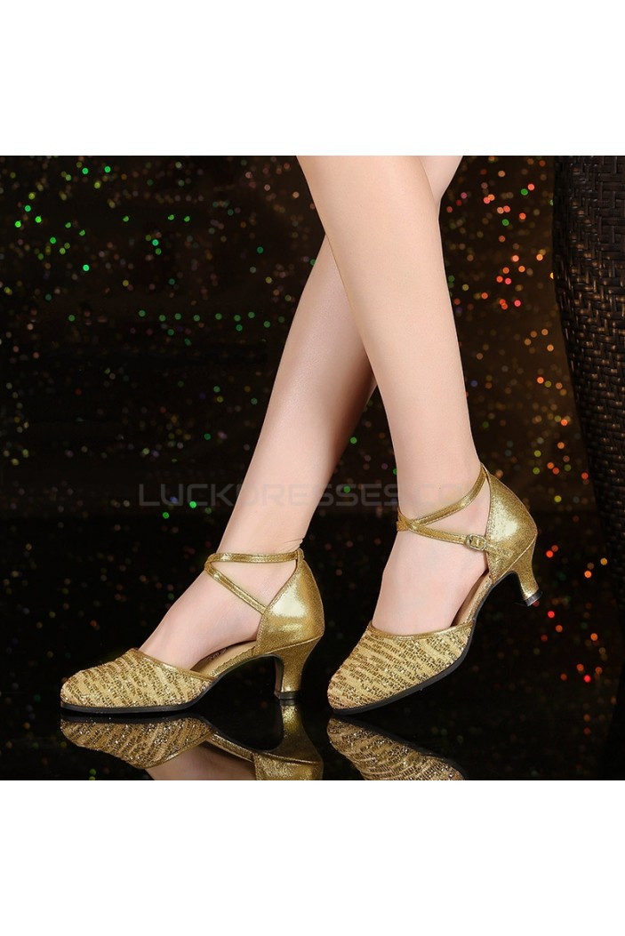 Women's Fashion Gold  Sparkling Glitter Heels With Ankle Strap Latin Ballroom Dance Shoes D801037