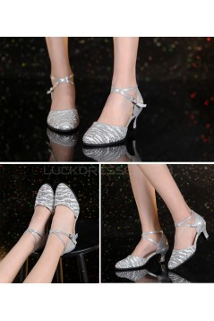 Women's Fashion Silver  Sparkling Glitter Heels With Ankle Strap Latin Ballroom Dance Shoes Wedding Party Shoes D801038