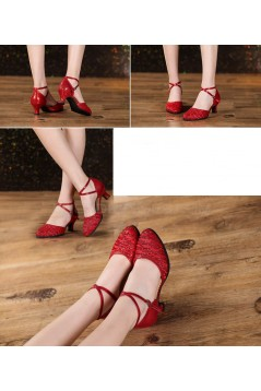 Women's Fashion Red  Sparkling Glitter Heels With Ankle Strap Latin Ballroom Dance Shoes D801039