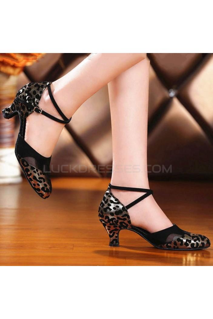Women's Black Gold Leopard Heels Pumps With Buckle Latin Party Dance Shoes D801040