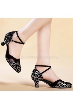 Women's Black Silver Leopard Heels Pumps With Buckle Latin Party Dance Shoes D801041